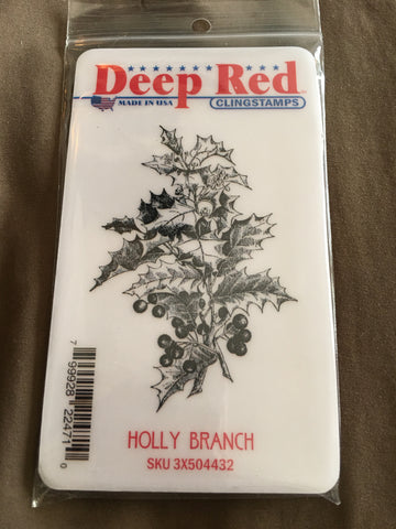 HOLLY BRANCH - DEEP RED RUBBER STAMPS
