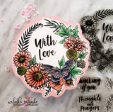 FLORAL WREATH WITH INTERCHANGEABLE SENTIMENTS STAMP SET - Gina Marie Designs