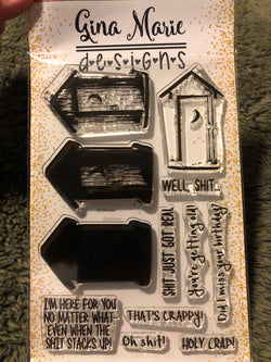 LAYERED OUTHOUSE STAMP SET - Gina Marie Designs