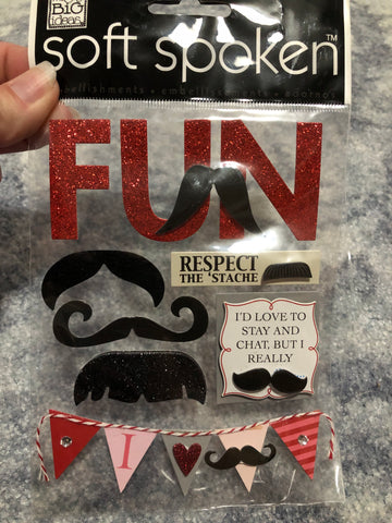 RESPECT THE STACHE - me & my big ideas SOFT SPOKEN STICKERS