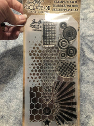 ABSTRACT - TIM HOLTZ CLEAR STAMPS AND STENCIL SET