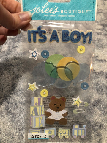 ITS A BOY VELLUM - Jolee's Boutique Stickers
