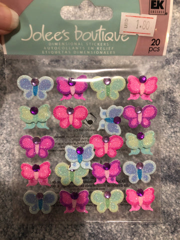 BRIGHT COLOR BUTTERFLIES REPEATS - Jolee's Boutique Stickers