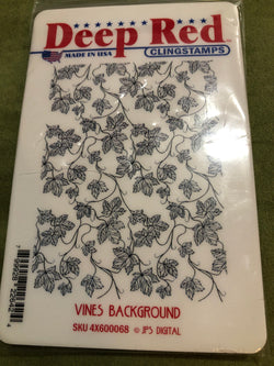 VINES BKGD - DEEP RED RUBBER STAMPS