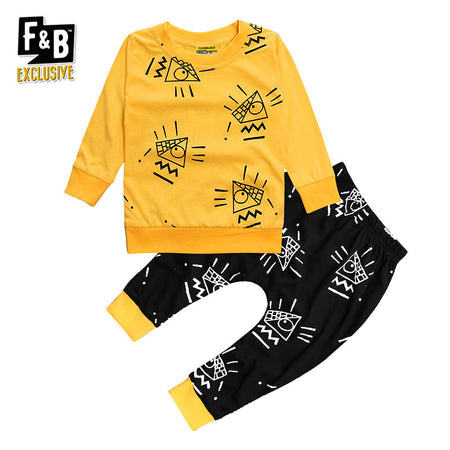Pyramid (Mellow Yellow) 2-Piece Bodysuit (Unisex - Boys & Girls)