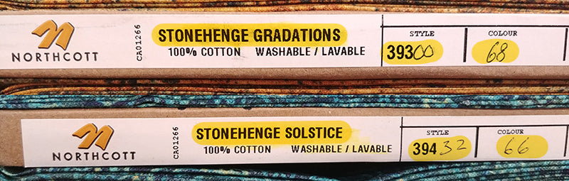 Northcott Stonehenge fabric bolt labels