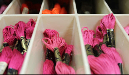 Embroidery floss available at the Brantford Len's Mill Store