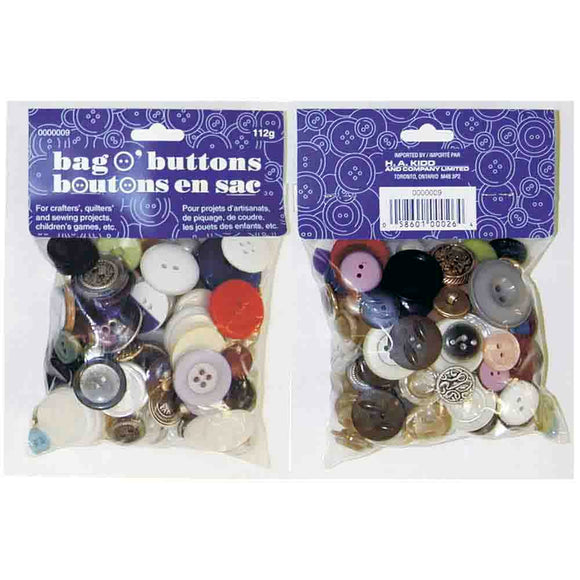 Assorted sizes/colours/styles small plastic bag of buttons (112g)