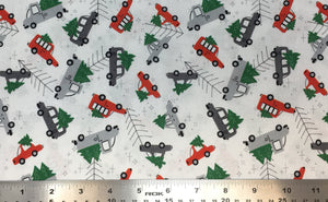 Group swatch cartoon Christmas tree on vehicle printed fabric in various colours