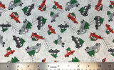 Flat swatch cartoon Christmas tree on vehicle printed fabric in red (white fabric with tossed cartoon trucks with christmas trees in back in light grey, dark grey, red shades)