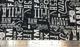 Flat swatch farm to fork large font text printed fabric in black