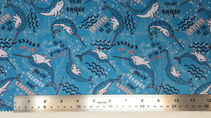 Group swatch unique narwhal printed fabric in various colours