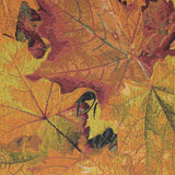 Square swatch autumn leaves printed upholstery fabric (yellow/orange/red autumn leaves collage)