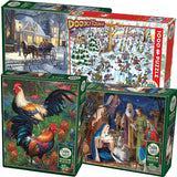 Group photo assorted 1000-piece Cobble Hill puzzles in packaging