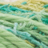 Scrub Off yarn swatch in shade greens (white, yellow, multiple greens)