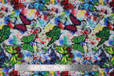 Flat swatch butterflies in flight fabric (white fabric with blue, yellow, green, red, pink, purple pain splatters and drips allover with tossed black butterfly outlines and green, blue, purple, red butterflies in flight)