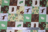 Flat swatch wood patch flannel fabric (woodland creature silhouettes, nature themed patches)