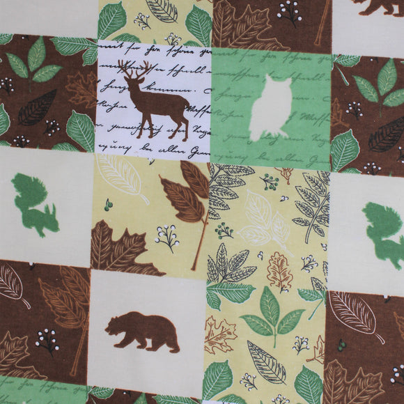 Sqaure swatch wood patch flannel fabric (woodland creature silhouettes, nature themed patches)