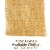 "Swatch of tightly woven 10oz Burlap labelled '10oz Burlap Available Widths: 40"", 60"" and 72"" '"