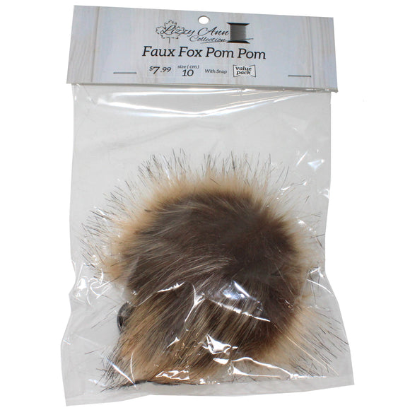 Ombre Faux Fox (Long Hair) Pom Pom with Snap - 10cm - Lizzy Ann
