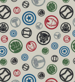 Square swatch white fabric with coloured circular avengers badges tossed allover (green hulk hand badge, blue star/shield, etc.)