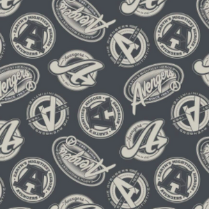 Square swatch burgundy fabric with white circular and oval avengers badges/text tossed allover