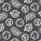 Square swatch grey fabric with white circular and oval avengers badges/text tossed allover