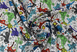 Swirled swatch licensed Avengers (Marvel) doodle style fabric in Avenger Doodle Team (full characters and multi logos on white)