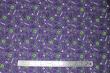 Flat swatch licensed Avengers (Marvel) doodle style fabric in Hulk Doodle Angry (doodle heads, fists, and text in green and white on purple)