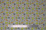 Flat swatch licensed Avengers (Marvel) doodle style fabric in Ironman Doodle Suit (doodle suit heads, text, stars in yellow and red on grey)