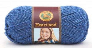 Ball of Lion Brand Heartland in colourway Glacier Bay (heathered bright, light blue)