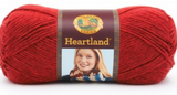 Ball of Lion Brand Heartland in colourway Redwood (heathered bright red)