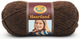 Ball of Lion Brand Heartland in colourway Sequoia (heathered rich brown)
