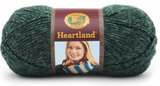 Ball of Lion Brand Heartland in colourway Kings Canyon (heathered forest green)