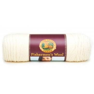 A ball of Lion Brand Fisherman's Wool in colourway Natural (off-white)