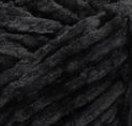 Swatch of Bernat Velvet yarn in shade blackbird (black)