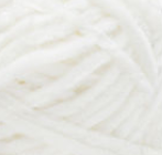 Swatch of Bernat Velvet yarn in shade white