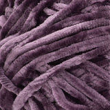 Swatch of Bernat Velvet yarn in shade prince (dark purple)