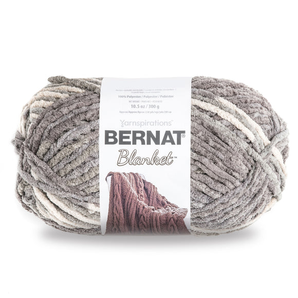 Ball of Bernat Blanket in colourway Silver Steel (grey shades, ivory)