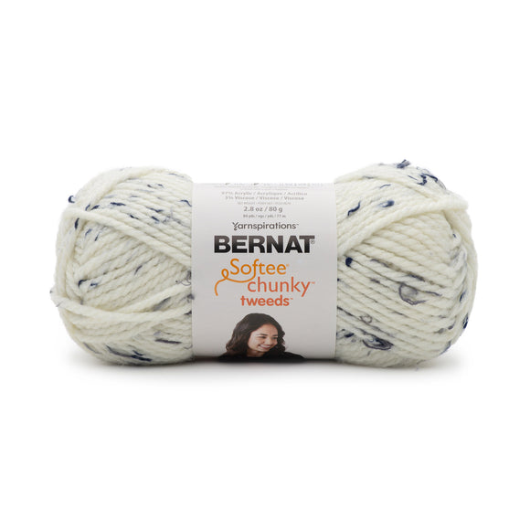Ball of Bernat Softee Chunky Tweeds yarn in shade midnight white (white shade with dark flecks/tweed)