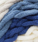 Cape Cod (cream, light grey, light blue, royal blue) swatch of Bernat Blanket Stripes