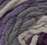 Eggplant (violet, mauve, dark grey, light grey) swatch of Bernat Blanket Stripes