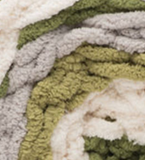 Olive Branch (olive greens, light grey, cream) swatch of Bernat Blanket Stripes