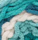 Teal Deal (teal, turquoise, cream) swatch of Bernat Blanket Stripes