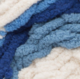Blue Moon (royal blue, country blue, cream) swatch of Bernat Blanket Stripes