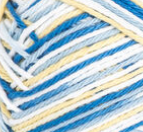 Sunkissed Ombre (royal blue, light blue, light yellow, white) variegated swatch of Bernat Handicrafter Cotton