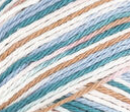 By the Sea (teal, white, sandy brown) variegated swatch of Bernat Handicrafter Cotton