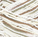 Wooded Moss (olive green, brown, pale yellow, white) variegated swatch of Bernat Handicrafter Cotton