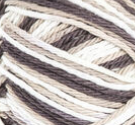 Chocolate Ombre (dark browm, tan, white) variegated swatch of Bernat Handicrafter Cotton