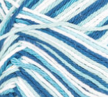 Hippi Ombre (teal, light blue, white) variegated swatch of Bernat Handicrafter Cotton